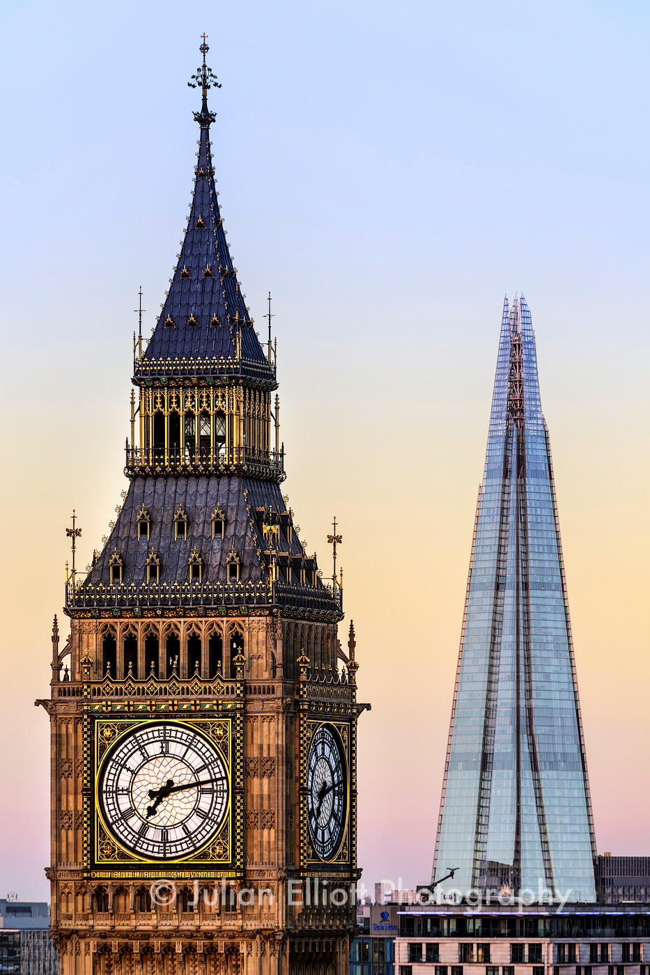 The Elizabeth Tower and The Shard, London.