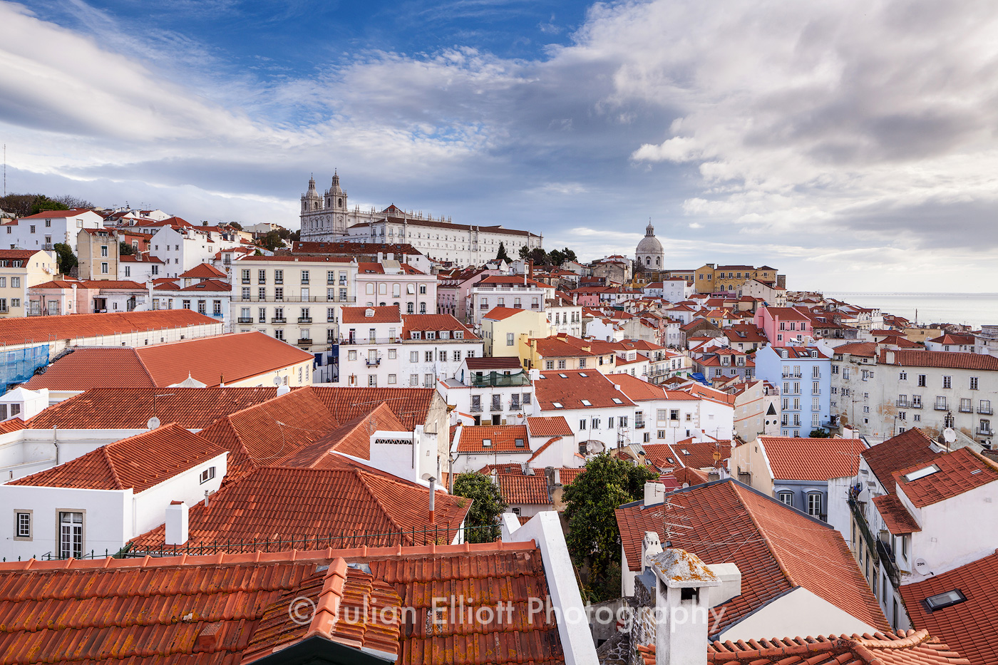 Sao Vicente de Fora Church and the Alfama district in Lisbon