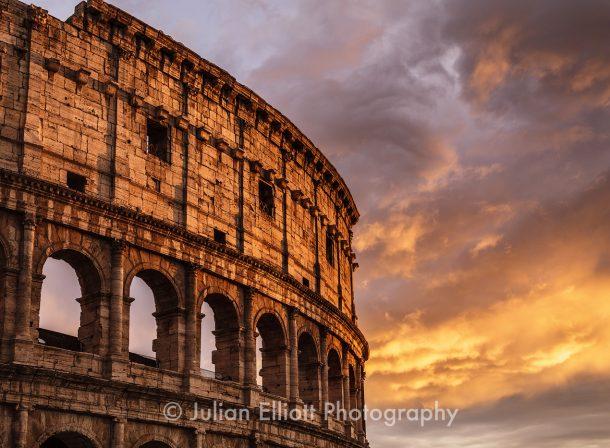 The Roman Colosseum in Rome.