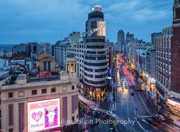 Gran Via in Madrid, Spain.