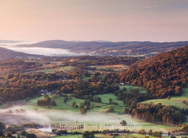 Mist over the landscape of the Lake District