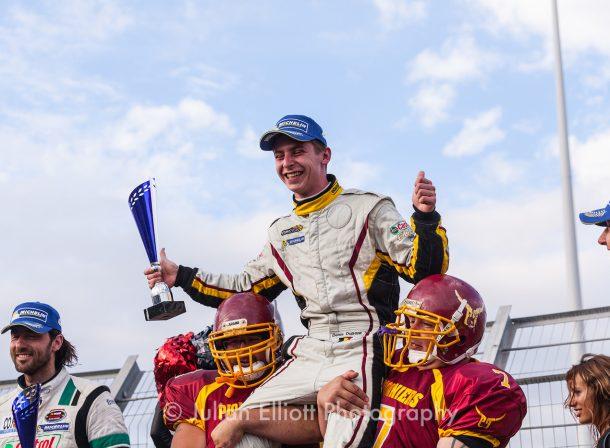 Denis Dupont after winning the Nascar race