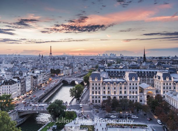 Sunset over the city of Paris