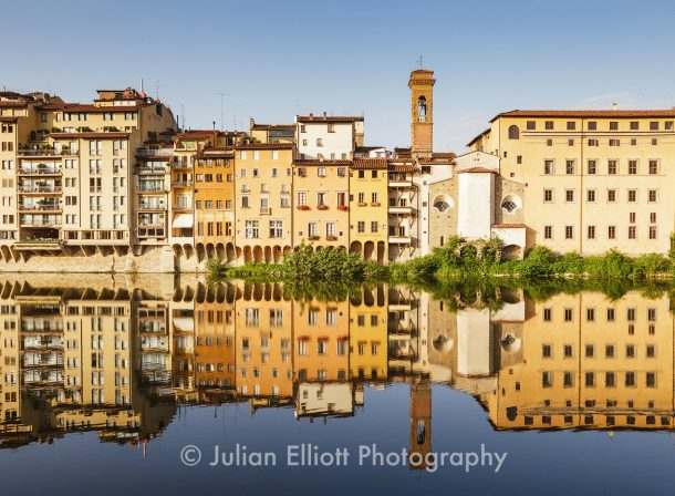 Houses by the River Arno in Florence, Italy.