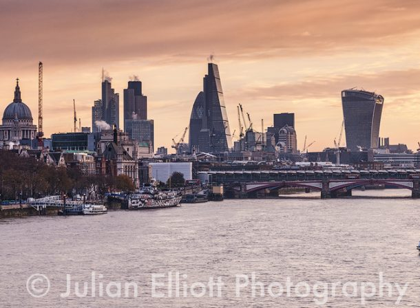 The River Thames and the City of London, England.
