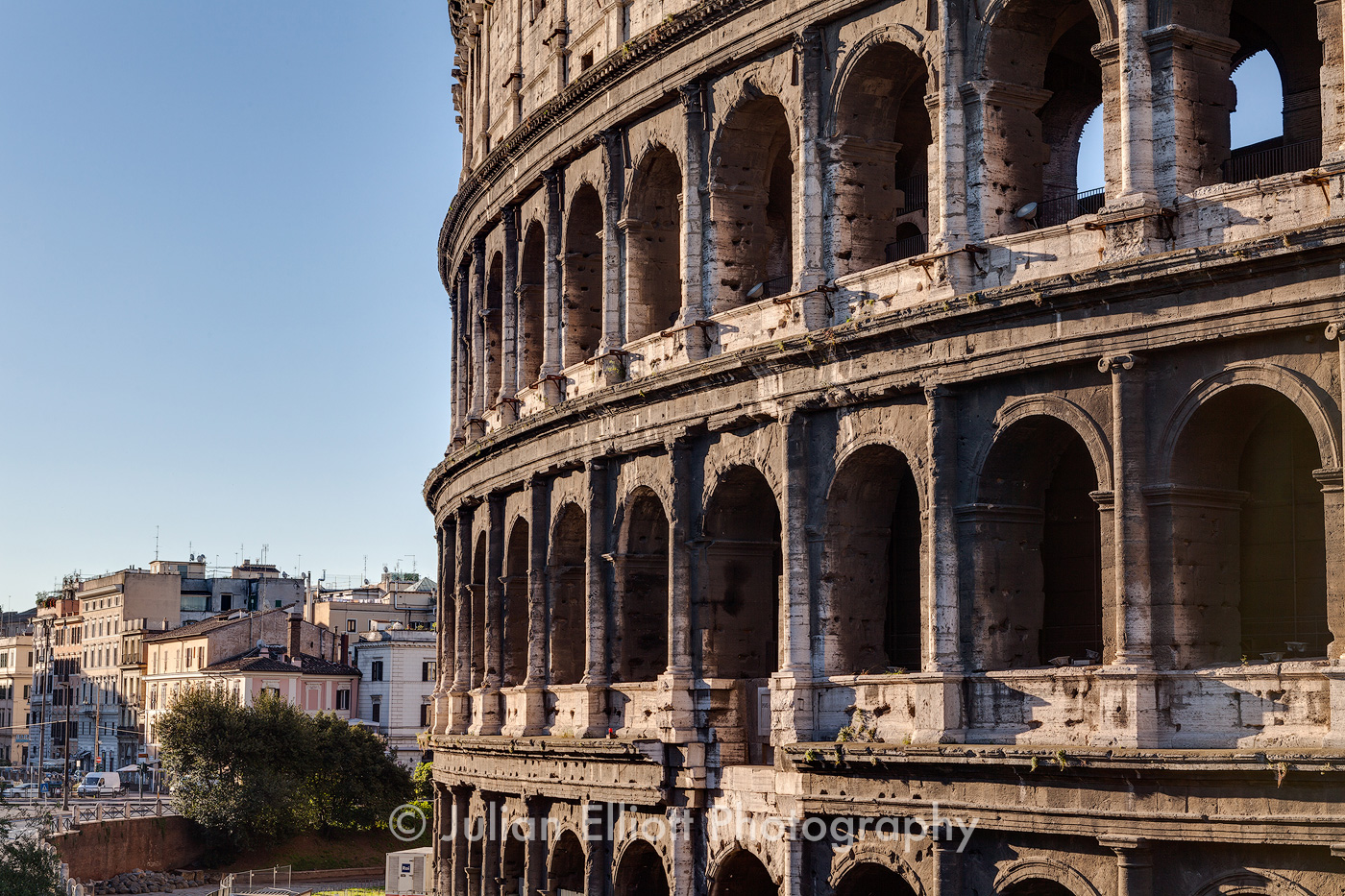 The Roman Colosseum in Rome.