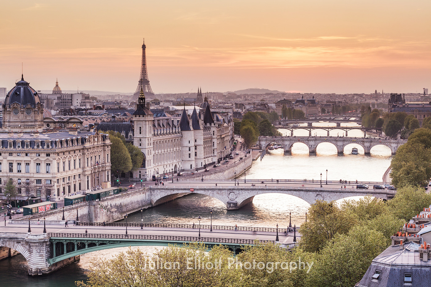 The city of Paris at sunset.