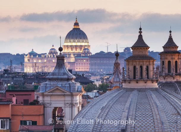 The rooftops of Rome to Saint Peter's basilica