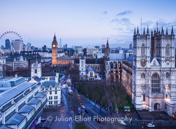 The rooftops of Westminster in London.