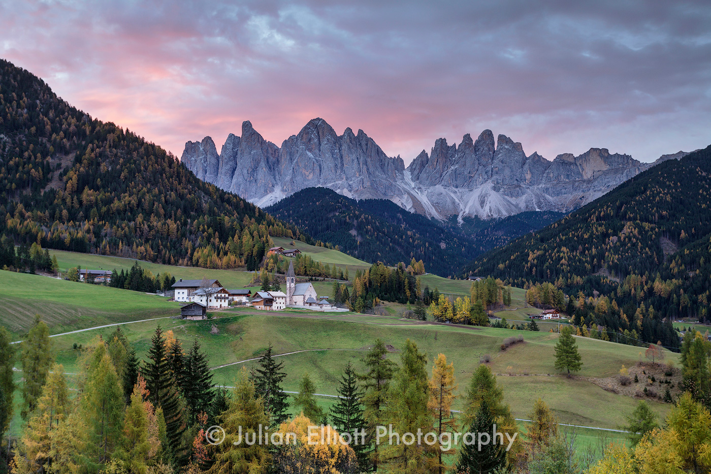 Santa Maddalena Alta and the Val di Funes in the Dolomites, Italy.