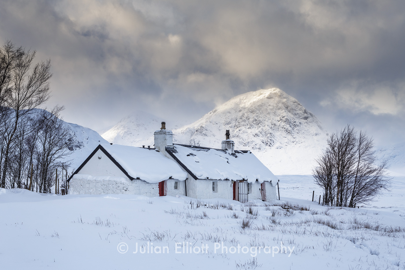 Blackrock Cottage and Buachaille Etive Mor.