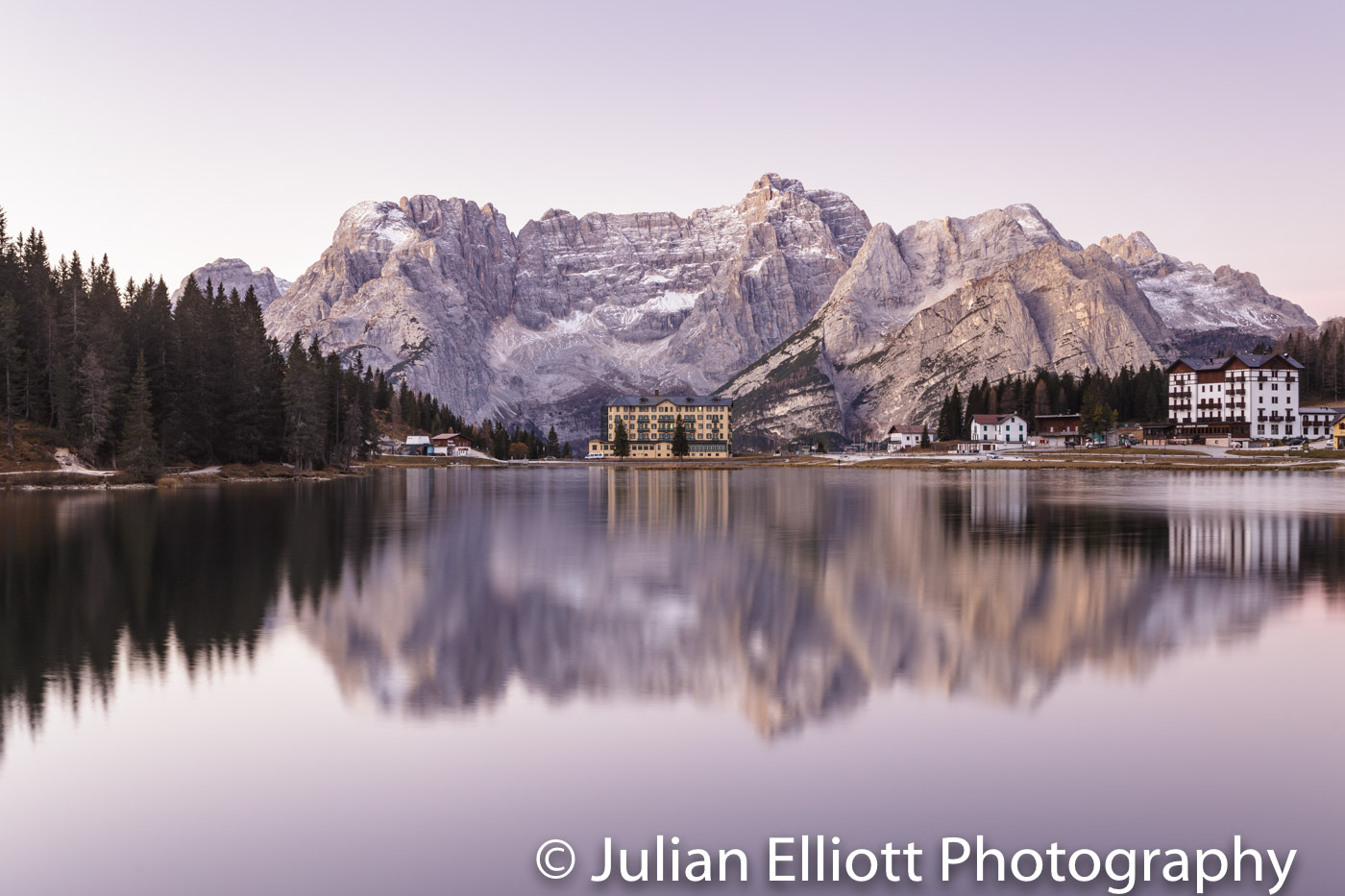 Lago di Misurina in the Dolomites at dawn, Italy.