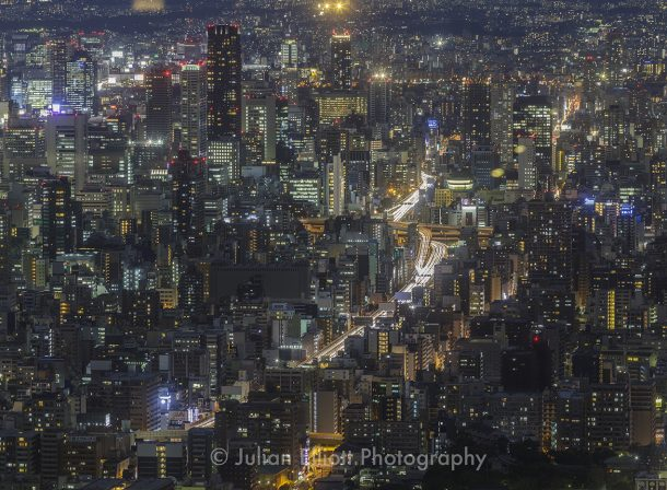 Cityscape of Osaka at night