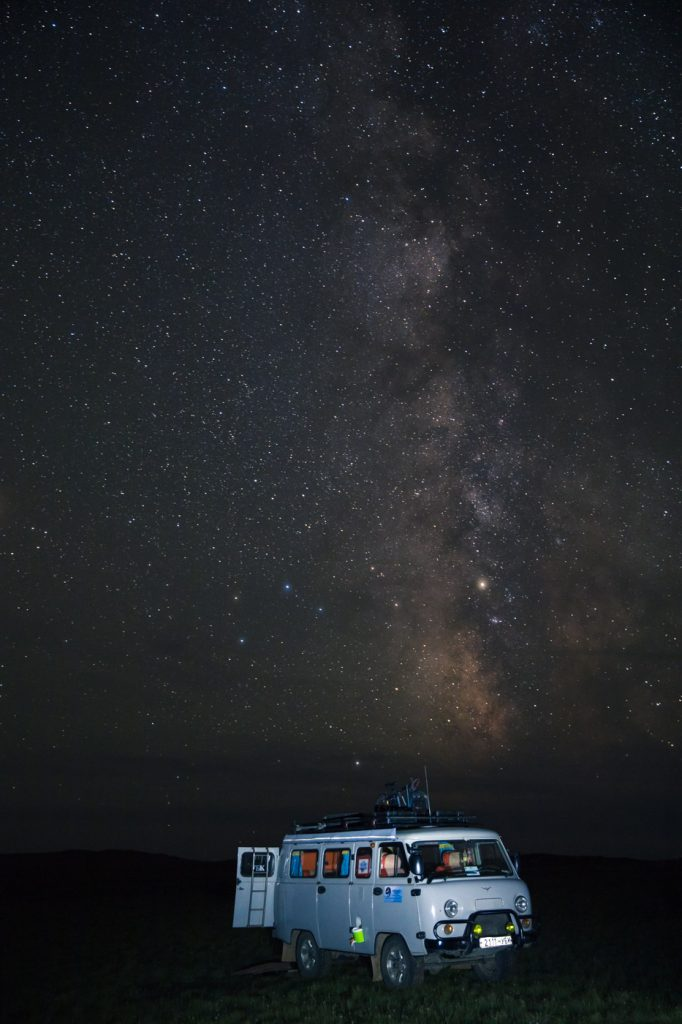 Russian Furgon van under the stars, Mongolia.